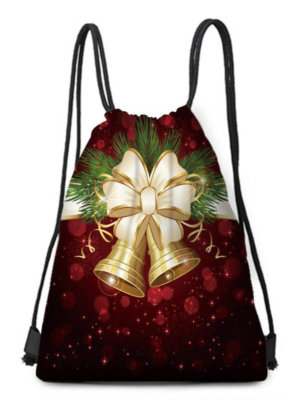Christmas Bowknot Bell Digital Print Cinched Bag - multicolor