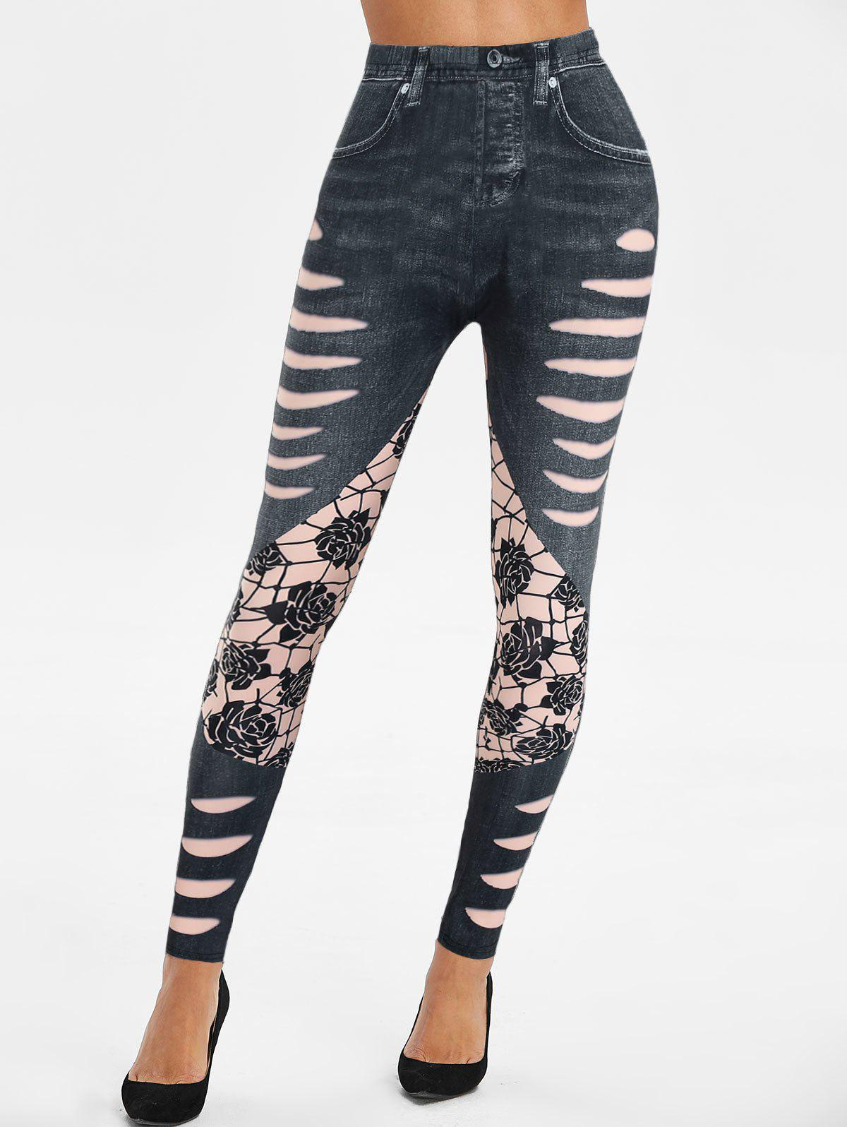 High Waisted 3D Ripped Jean Print Skinny Jeggings - BLACK 2XL