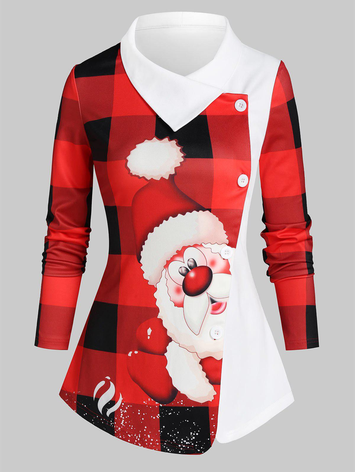 Plaid Santa Print Colorblock Asymmetric Top - RED 3XL