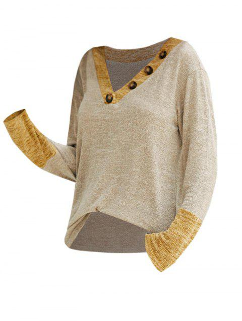 Buttoned V Neck Contrast Heathered Knitwear
