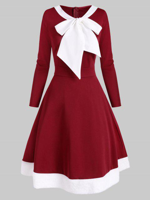 Christmas Faux Fur Insert Pussybow Colorblock Dress