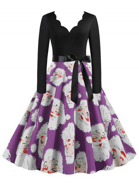 Santa Claus Belted Saclloped Christmas Plus Size Dress