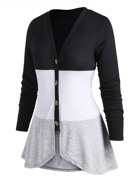 Button Up V Neck Colorblock Plus Size Cardigan