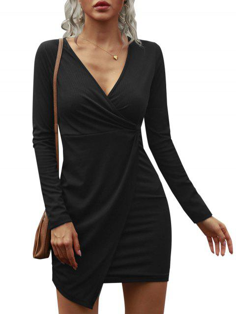 Ribbed Plunging Asymmetrical Surplice Bodycon Dress