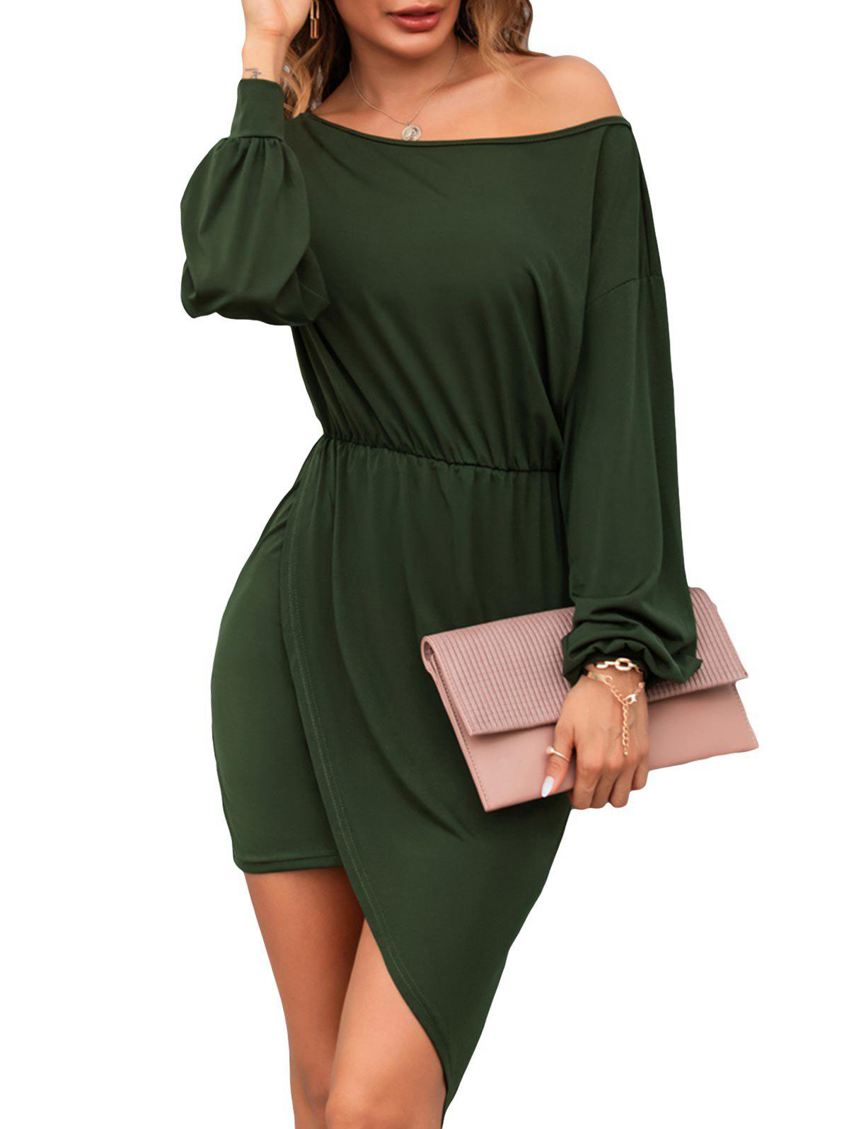 Skew Collar Long Sleeve Asymmetrical Dress - DEEP GREEN M