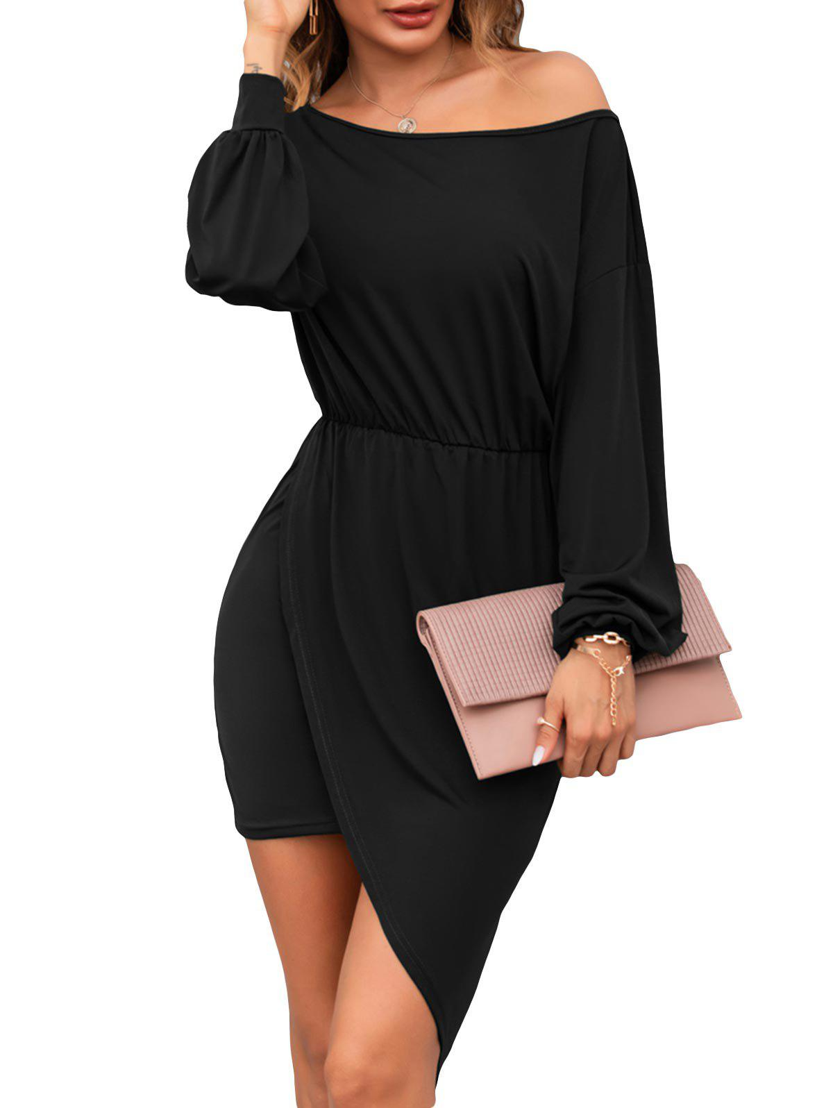 Skew Collar Long Sleeve Asymmetrical Dress - BLACK S