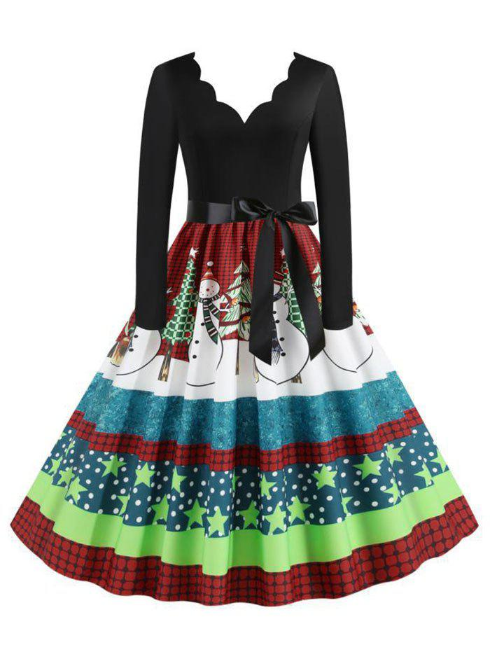 Plaid Snowman Christmas Tree Scalloped Belted Plus Size Dress - GREEN 4XL