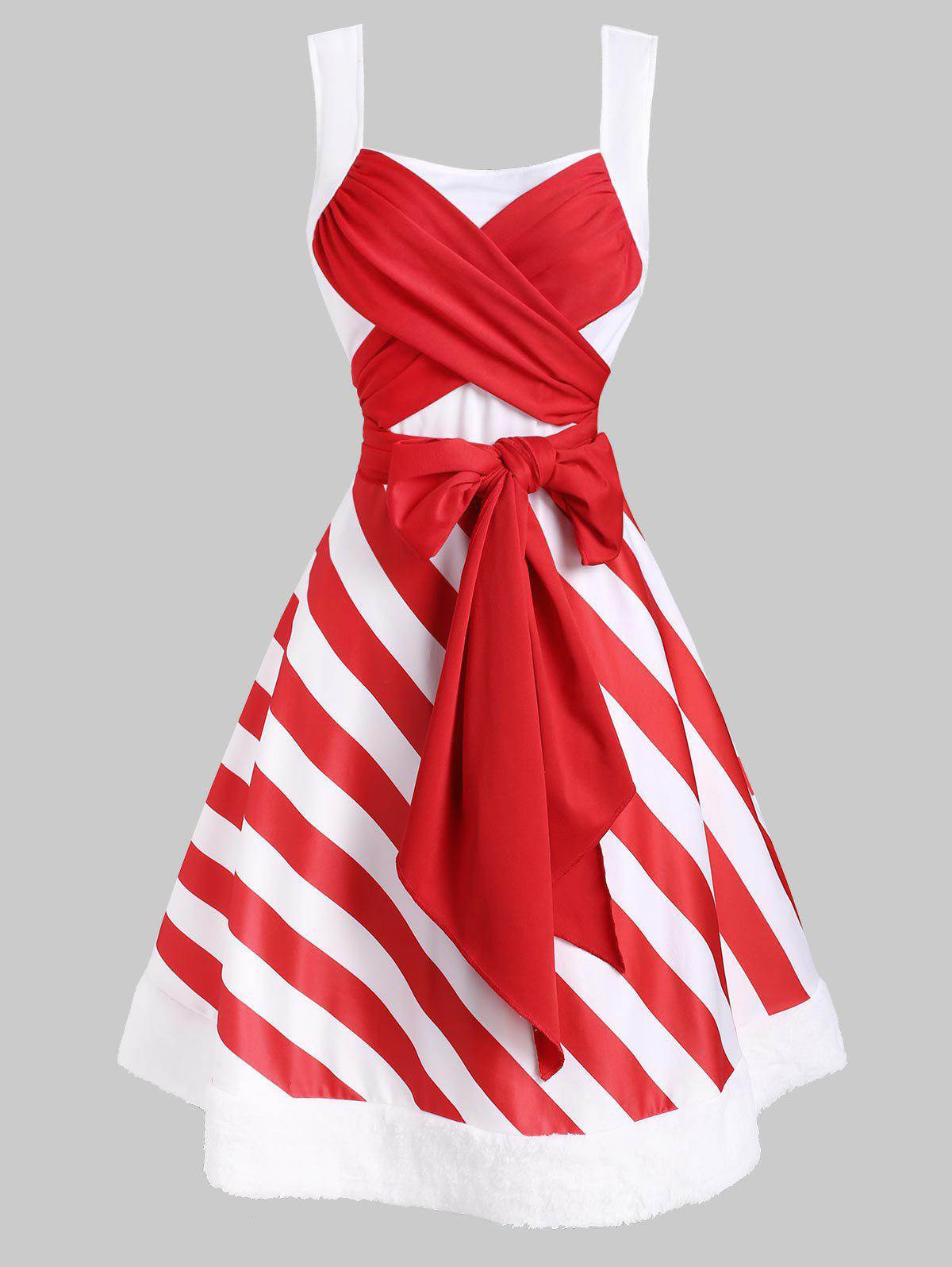 Christmas Striped Faux Fur Insert Bowknot Dress - RED S