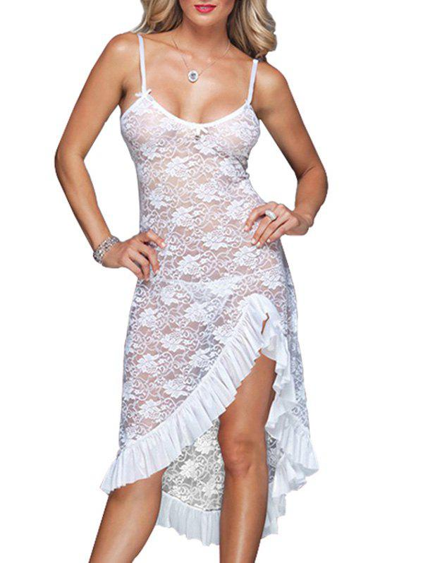 Ruffle Bowknot Floral Lace Chemise - WHITE M