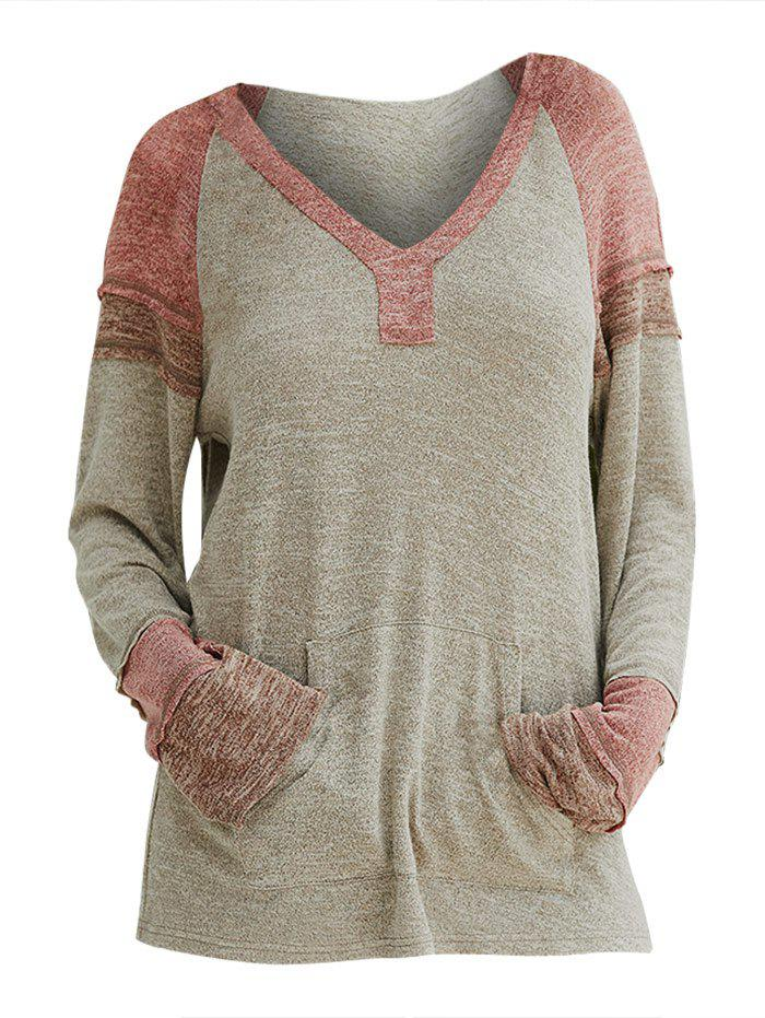 Hooded Colorblock Raglan Sleeve Knitwear - multicolor M
