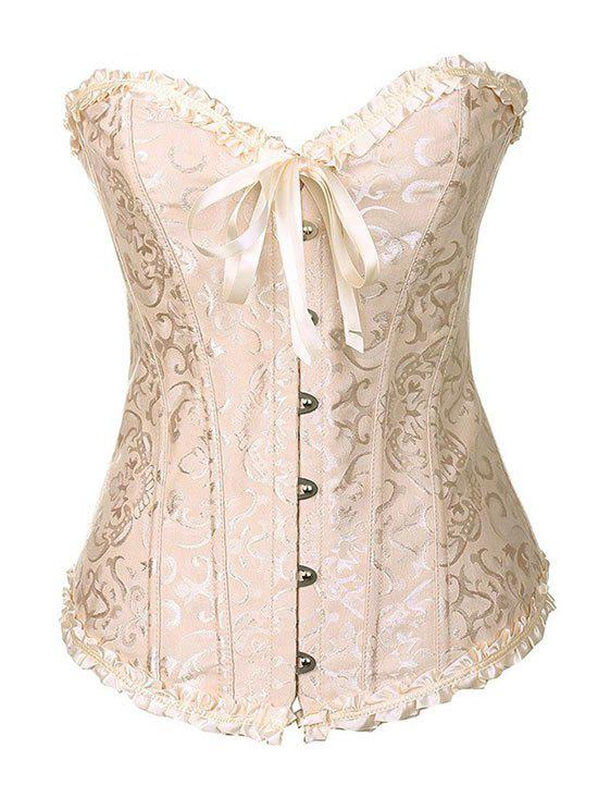 Lace-up Overbust Frilled Boned Brocade Corset Set - LIGHT YELLOW M