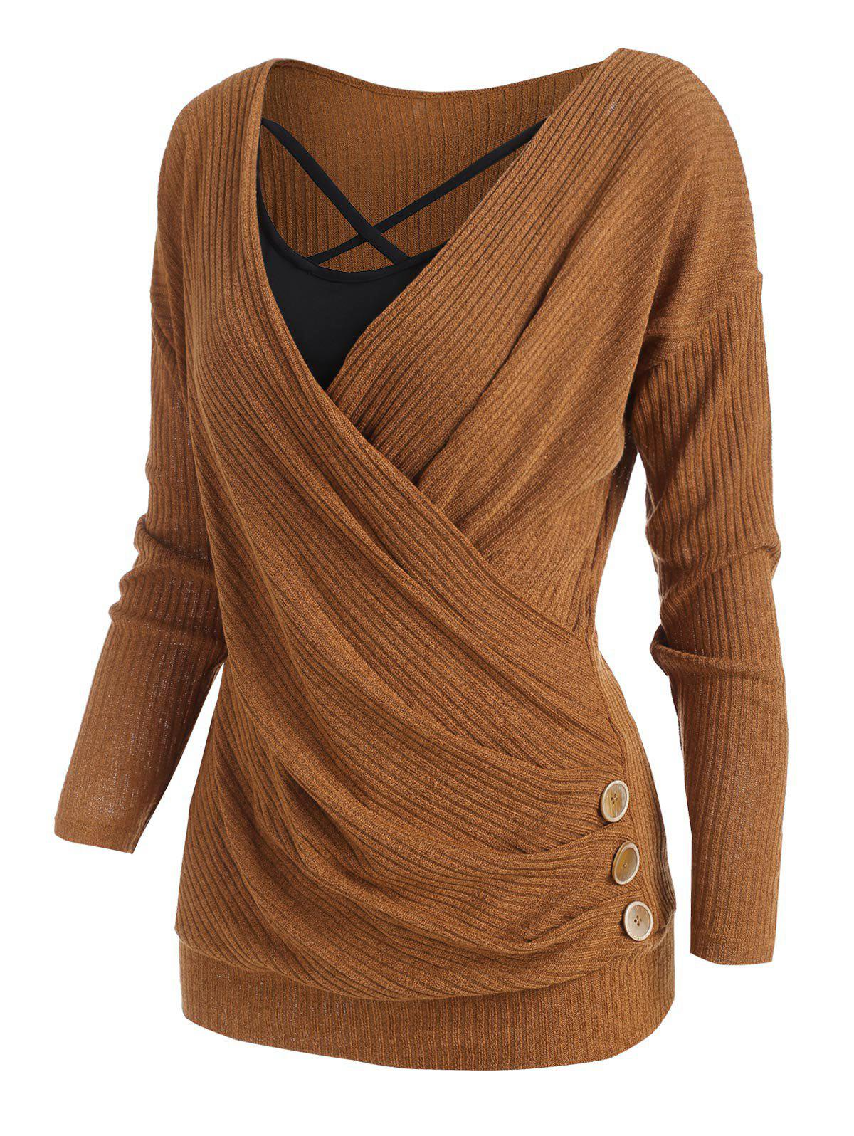 Mock Button Plunging Surplice Sweater with Crisscross Camisole - GOLDEN M