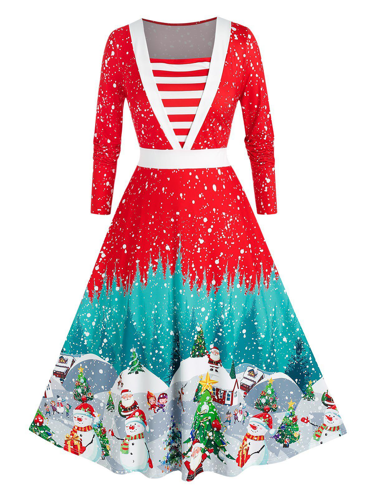 Plus Size Christmas Snowflake Claus Striped Long Sleeve Dress - RED 3X