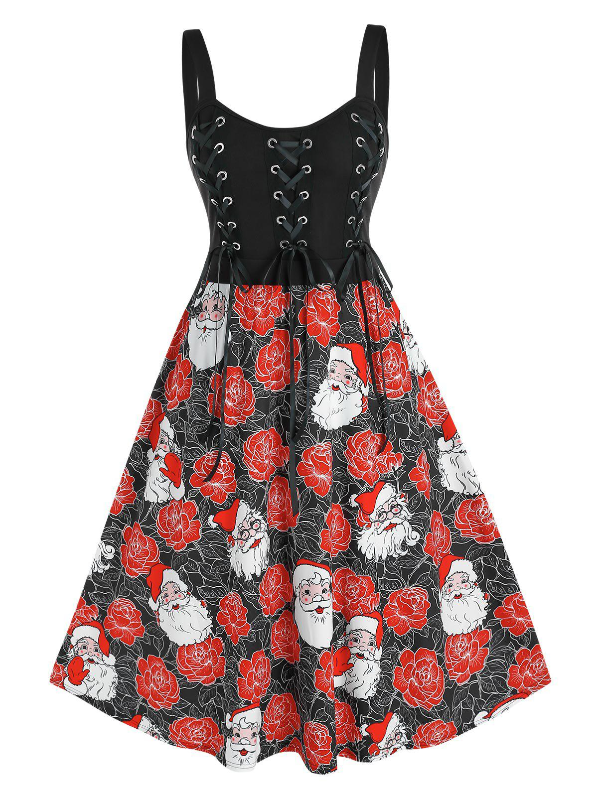 Plus Size Lace-up Christmas Santa Claus Flower Flared Dress - BLACK 5X