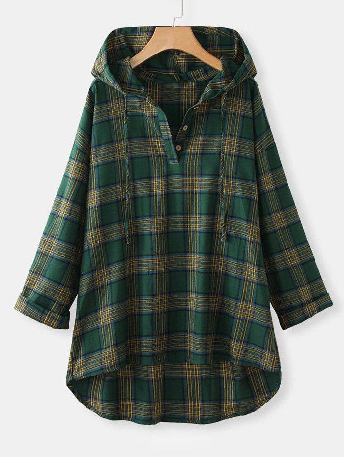 Plus Size Hooded Plaid High Low Top - GREEN 5XL