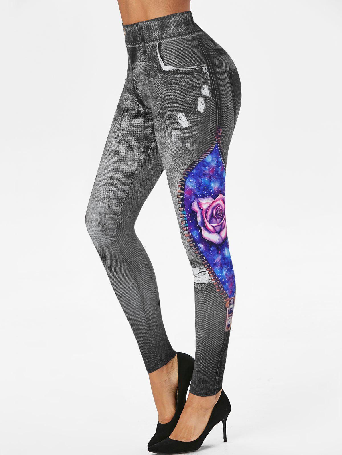 3D Ripped Print Planet Rose Galaxy Skinny Jeggings - ASH GRAY 2XL