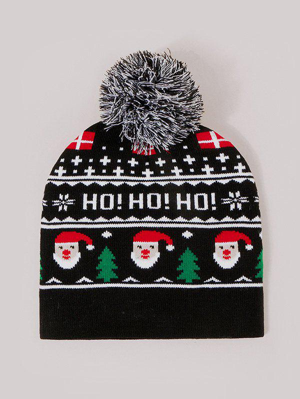 Christmas Santa Claus Pattern Knitted Bubble Hat - BLACK