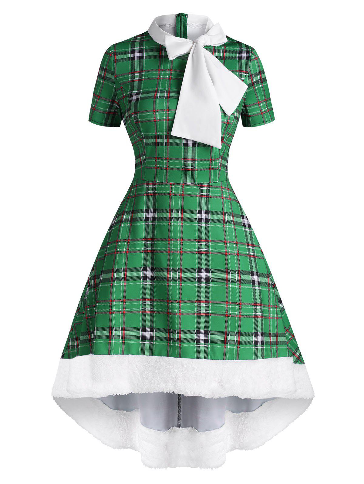 Christmas Faux Fur Insert Plaid Pussybow High Low Dress - GREEN S