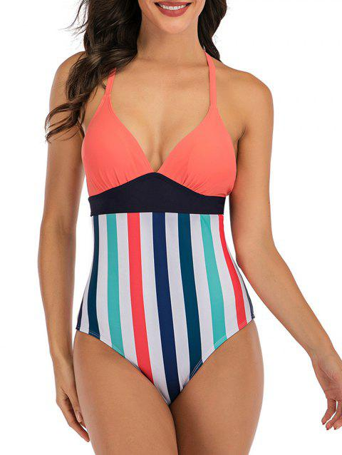 Lace Up Back Stripes Colorblock One-piece Swimsuit