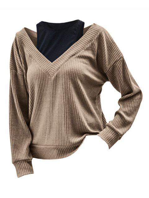 Ribbed Cutout 2 In 1 Knitwear