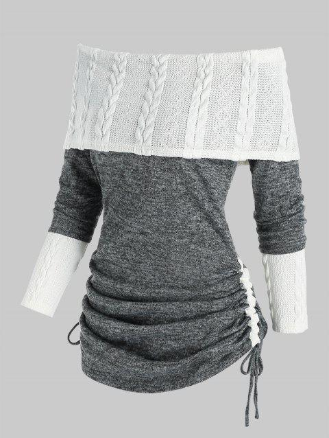 Cinched Off Shoulder Patchwork Knitwear