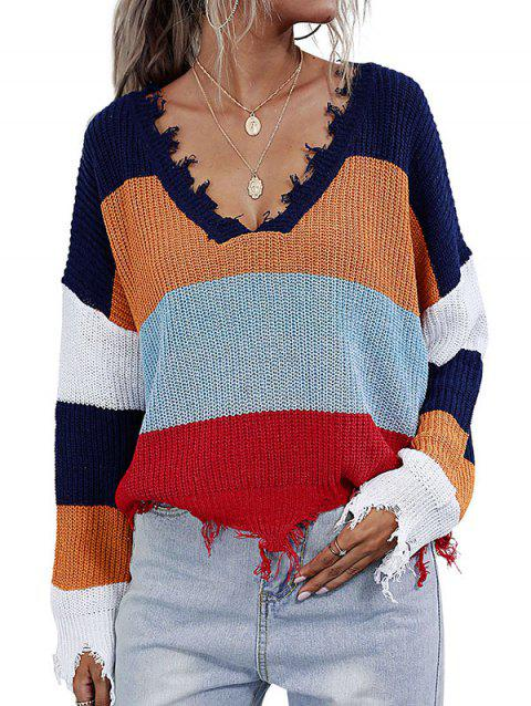 Colorblock Distressed Trim Oversized Sweater
