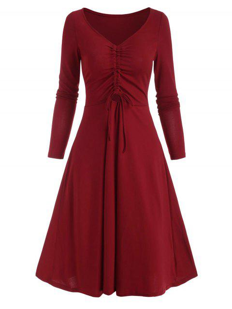 Cinched Ruched Front A Line Long Sleeve Dress