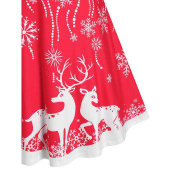 Plus Size Christmas Lace-up Checked Snowflake Elk Dress