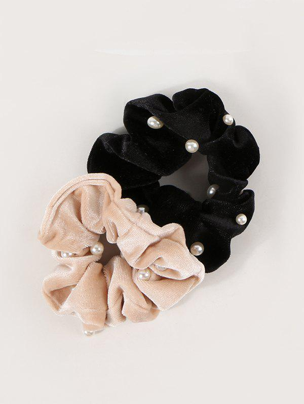 2Pcs Faux Pearl Velour Scrunchies Set - multicolor A