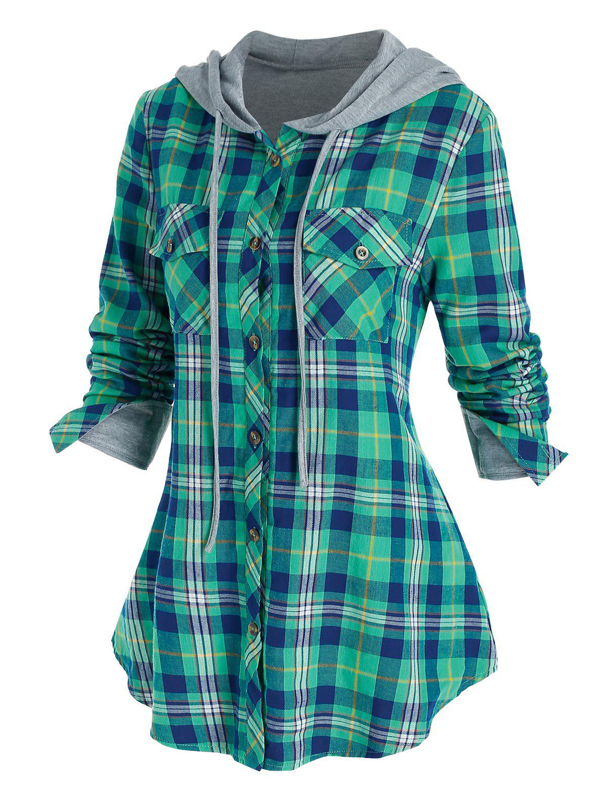 Hooded Plaid Print Double Pockets Shirt - multicolor A M