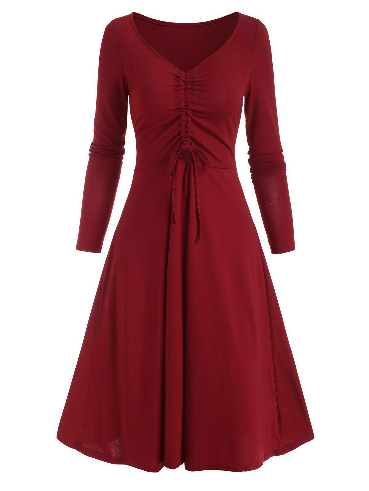 Cinched Ruched Front A Line Long Sleeve Dress - DEEP RED L