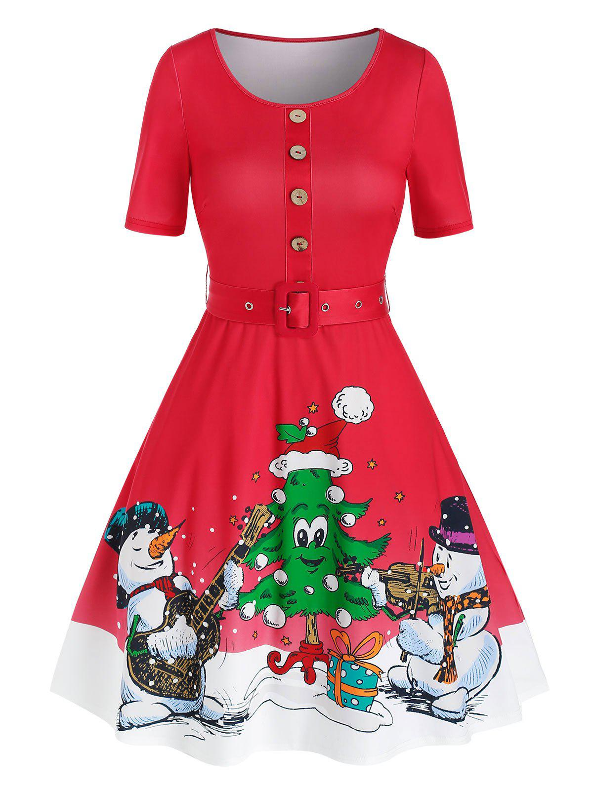 Christmas Tree Snowman Print Vintage Dress - RED 3XL