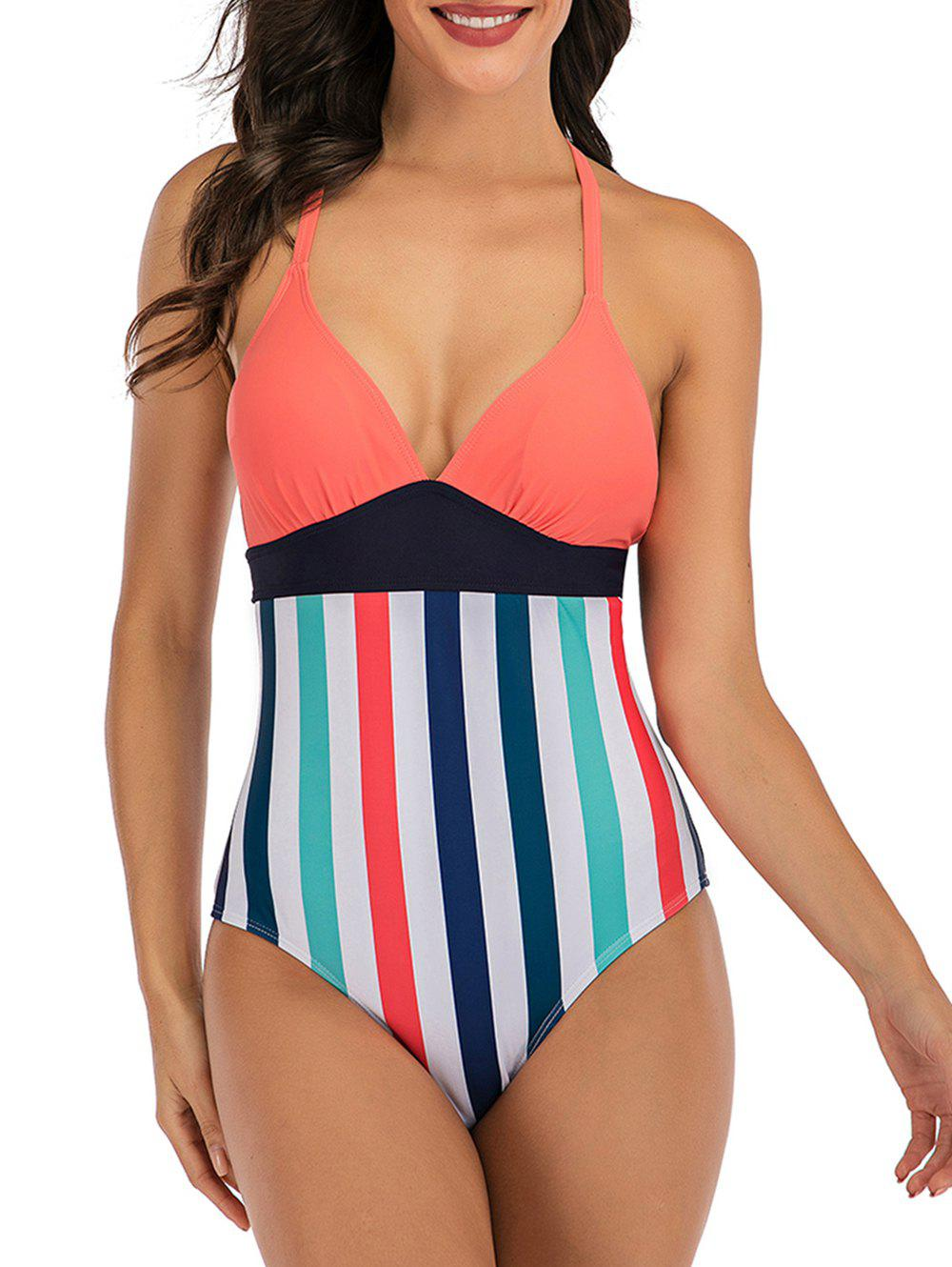 Lace Up Back Stripes Colorblock One-piece Swimsuit - multicolor L