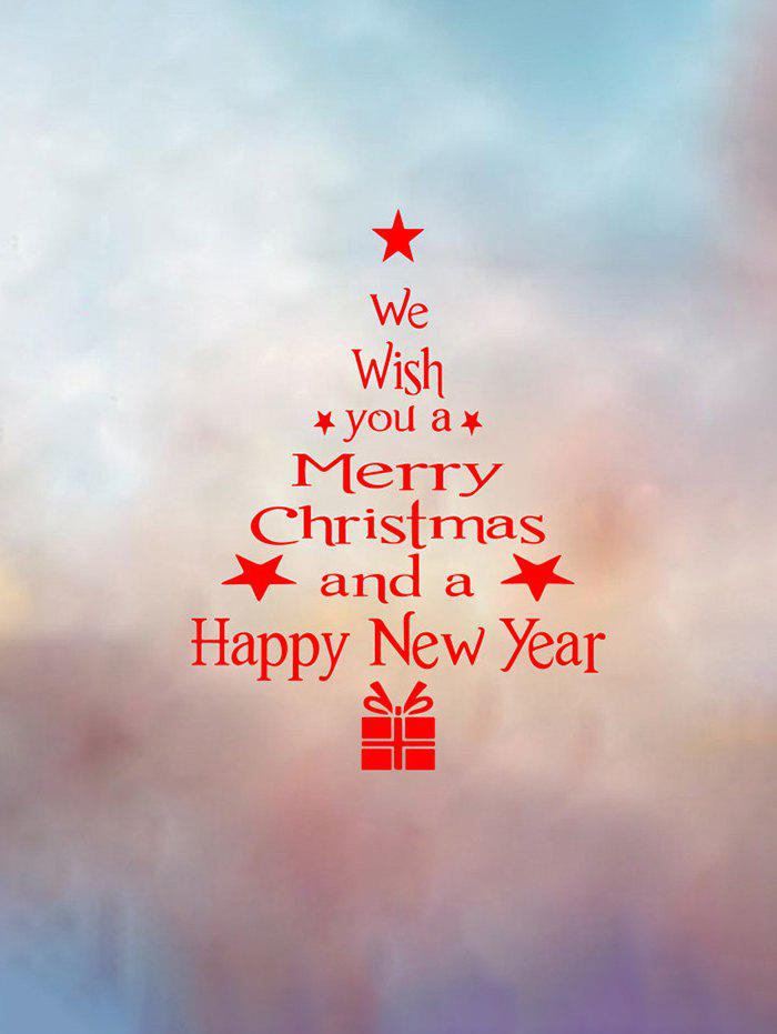 Christmas Tree Wish Letter Print Wall Art Stickers - RED 40X22CM