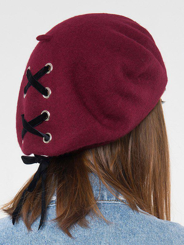 Colorblock Ribbon Lace Up Beret Hat - RED WINE