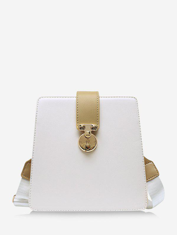 Colorblock Crossbody Square Bag - WARM WHITE