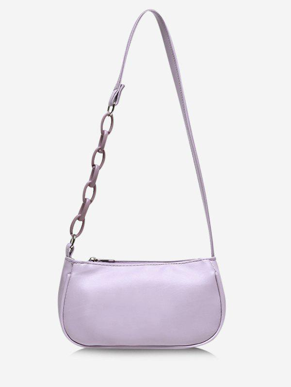 Solid Chain Brief Shoulder Bag - MAUVE