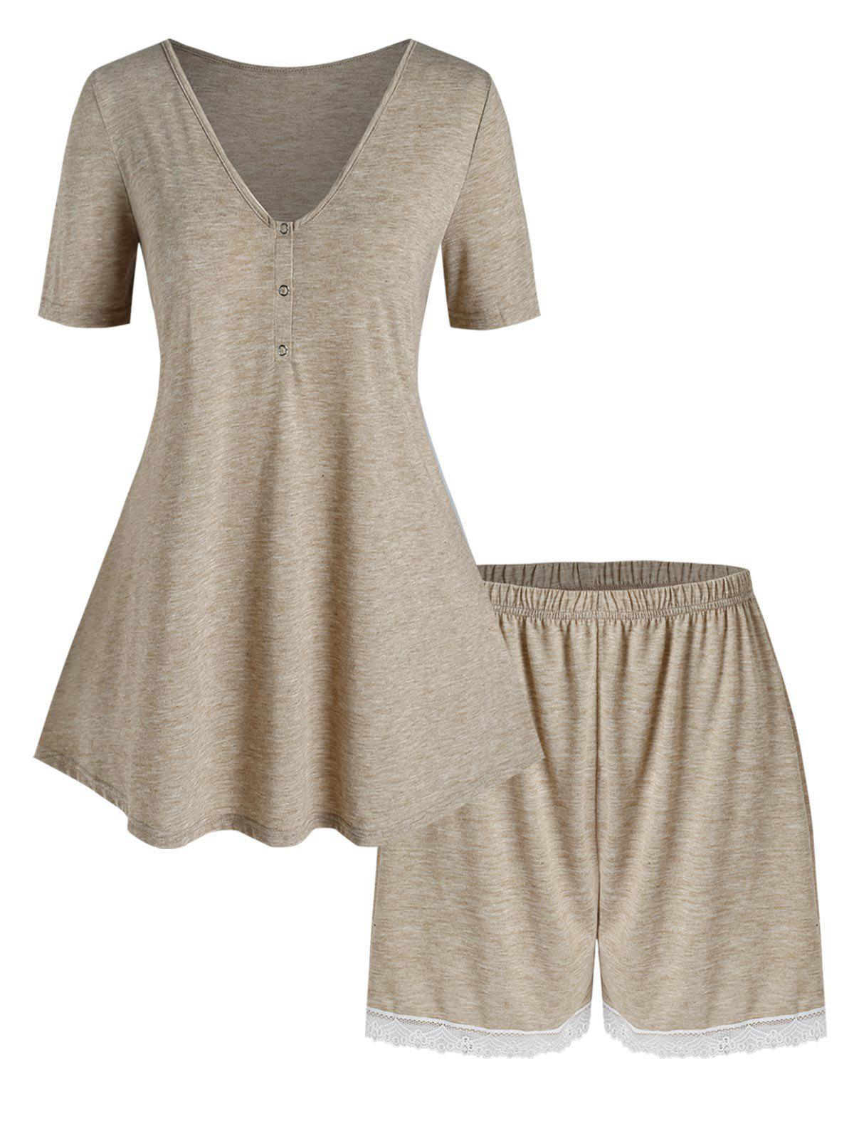 Plus Size V Neck Henley Tee and Shorts Pajamas Set - TAN 1X