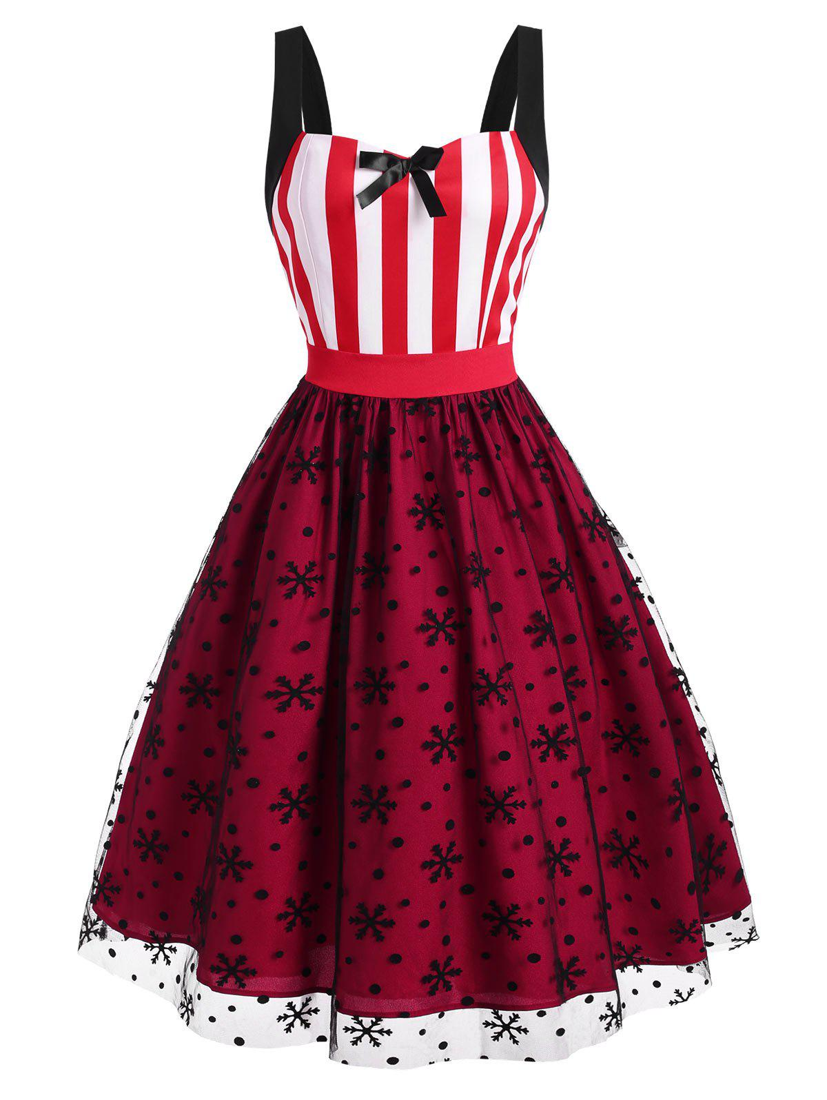 Christmas Snowflake Polka Dot Flocking Lace Striped Bowknot Dress - RED XL