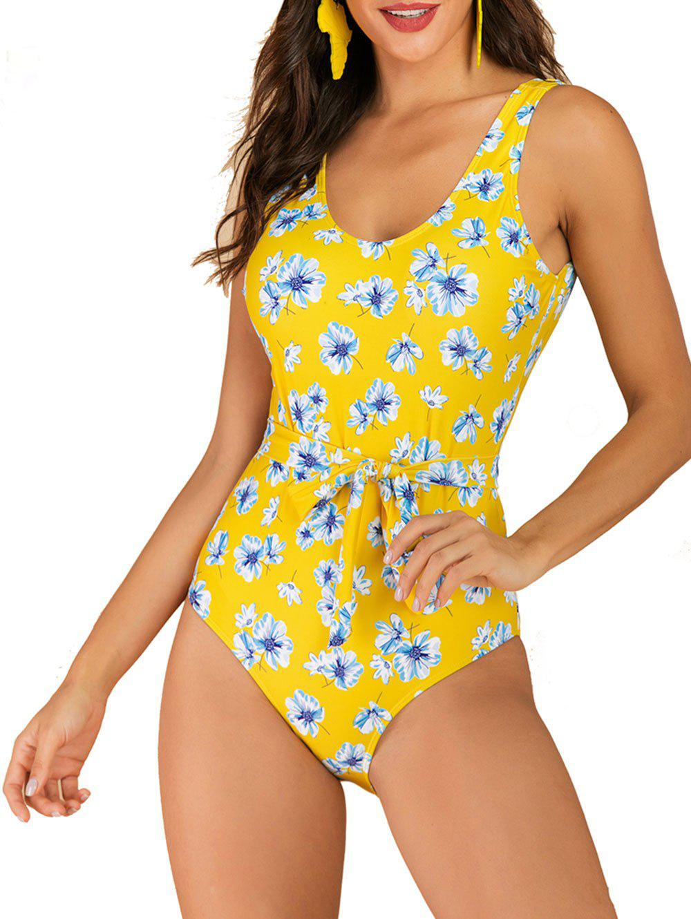 Flower Backless Belted One-piece Swimsuit - YELLOW L
