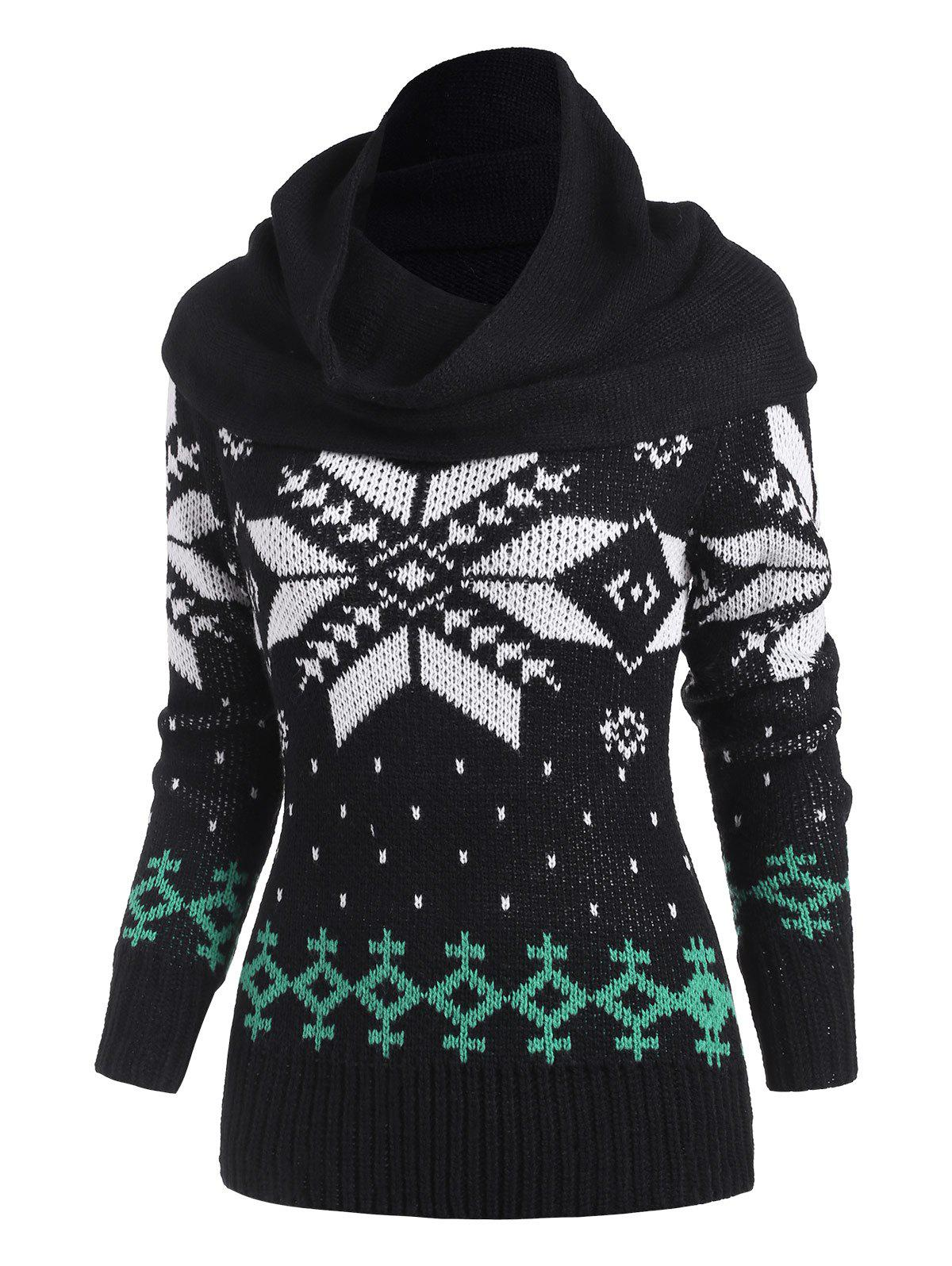 Christmas Multiway Snowflake Sweater with Ring Scarf - BLACK XXL