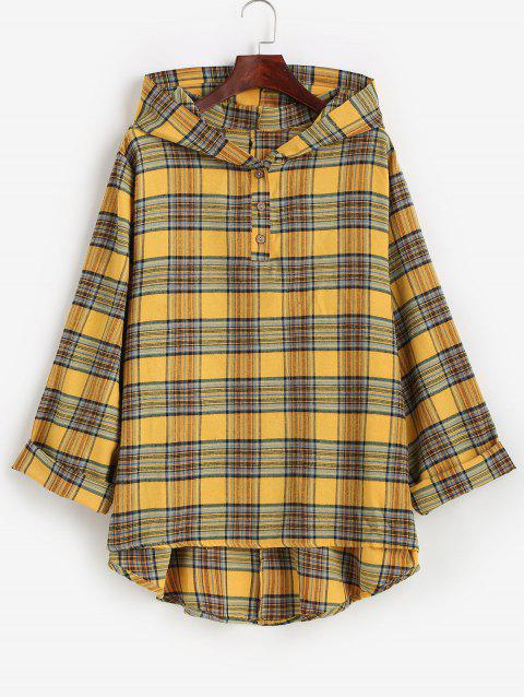 Plus Size Hooded Plaid High Low Top