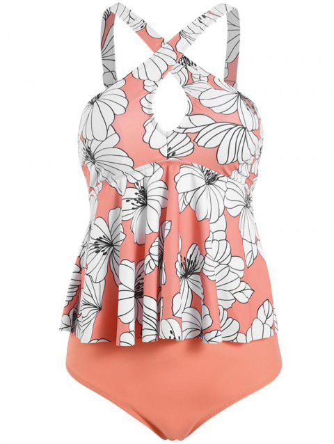 Criss Cross Keyhole Floral Leaves Print Tankini Swimwear