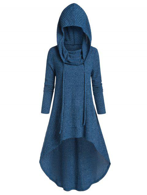 Hooded Drawstring High Low Long Knitwear