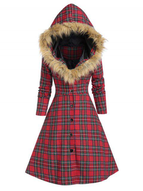 Hooded Faux Fur Insert Lace Up Plaid Coat