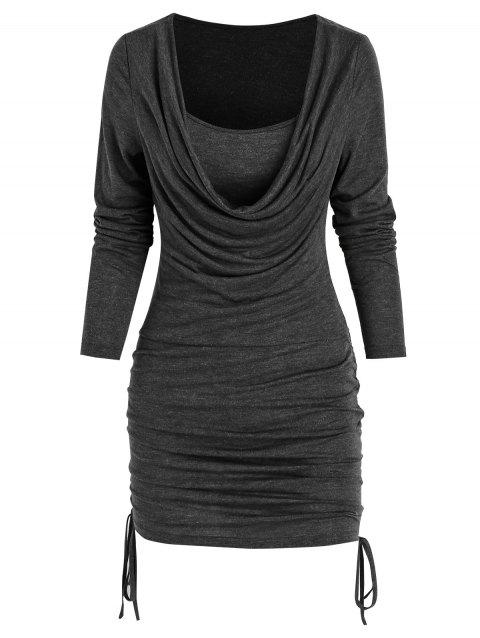 Cowl Collar Solid Side Cinched Dress