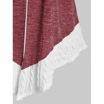 Plus Size Buckles Two Tone Cable Knit Cardigan