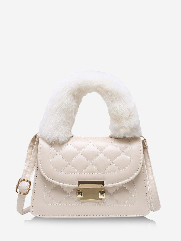 Quilted Fluffy Handle Crossbody Handbag - WARM WHITE