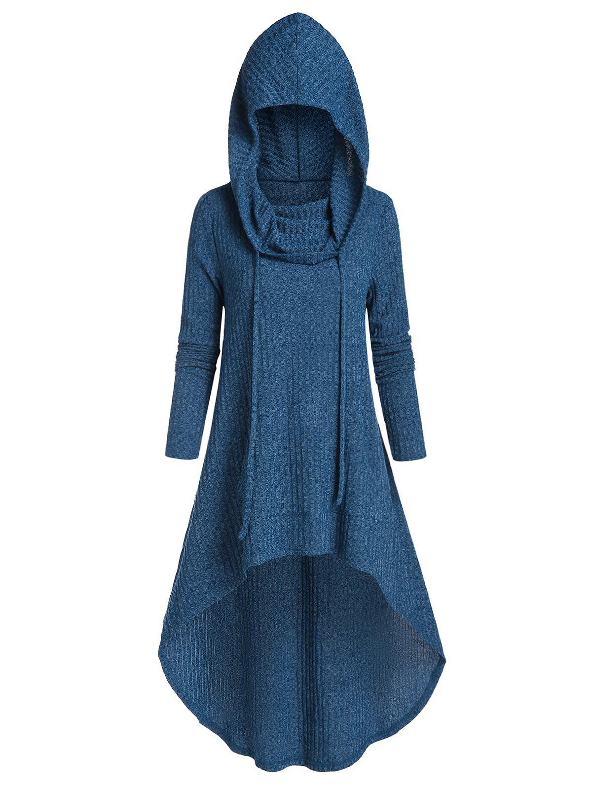 Hooded Drawstring High Low Long Knitwear - SILK BLUE 3XL