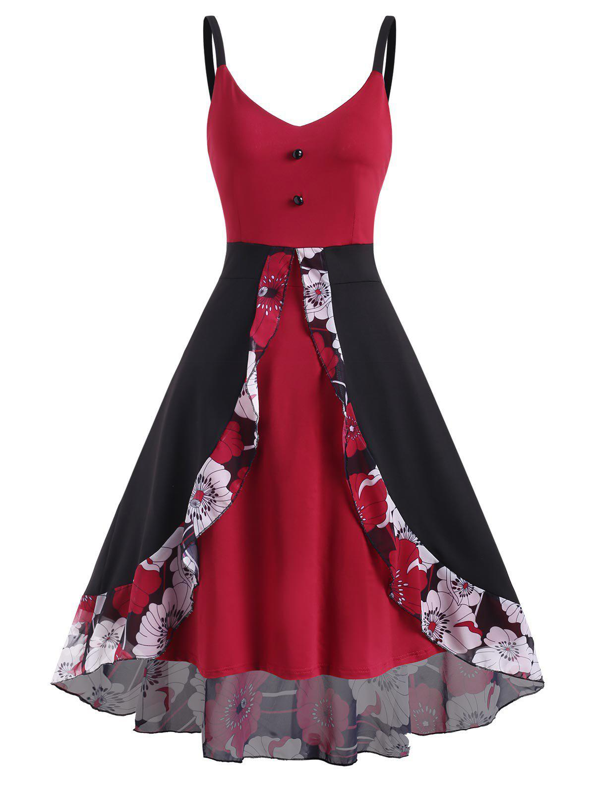 Floral Panel Overlay High Low Dress - DEEP RED S